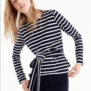 J.Crew Striped Belted Crossback Top (Navy/White)